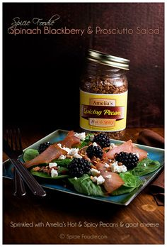 Spinach Blackberry & Prosciutto Salad Sprinkled with Goat Cheese and Spicy Pecans. via @SpicieFoodie.com