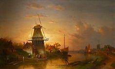 mooi licht - Charles Leickert (1816-1907): zomers rivierlandschap met overzetpontje.