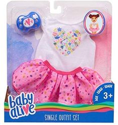 Baby Alive Fashions- Mix and Match Outfit (White Tee + Pink Tu Tu) Baby Dolls For Kids, Real Life Baby Dolls, Little Girl Toys, My Little Baby, Toys For Girls, Baby Love, Baby Alive Doll Clothes, Baby Alive Dolls, Muñeca Baby Alive
