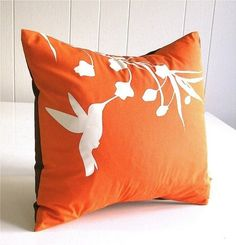 Hummingbird pillow. I would love this even more in blue and white.