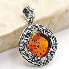 Filigree Style Natural Baltic Amber & .925 by TheSilverPlaza