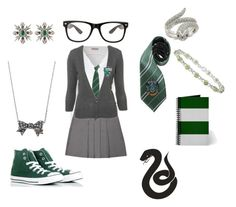 """Uniforme Sonserina"" by tatalindx ❤ liked on Polyvore featuring Juicy Couture, Ice, Converse, Kenneth Jay Lane and school slytherin green fanfic"