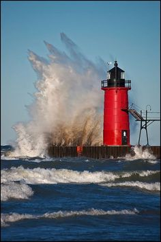 Gale Force Winds - South Haven, Michigan lighthouse during a 2 day storm. With 50 feet high waves.