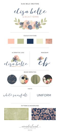 Anyone else in love with the combination of rose gold and navy? They make such a great colour palette, and I love how they look in the floral watercolour logo in this small business branding concept. The calligraphic signature font looks beautiful against the sans serif. Wonderland Graphic Design (© 2016).