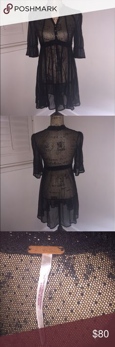 Free People Black Sheer Dress Wore twice, in great condition no rips or stains! NO SLIP! Free People Dresses