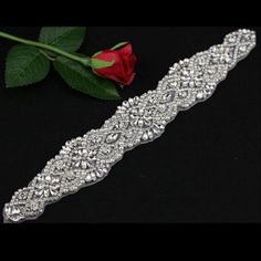 Bridal Crystal Applique,Rhinestone Beaded Wedding Accessories for Bridal Sash