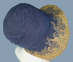 Vintage 20s Blue Straw Brimmed Cloche Hat Soutache Embroidery