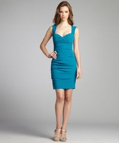 Nicole Miller: peacock crepe sleeveless party dress