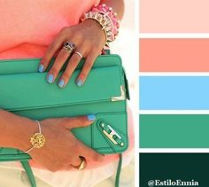 Peach, Blue, and Green Colour Pallete, Colour Schemes, Color Trends, Color Combinations, Color Palettes, Colours That Go Together, Colour Board, Color Swatches, Color Stories