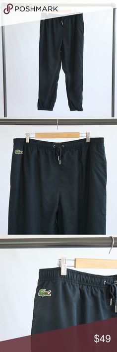 "Lacoste Athletic Pants Black Lacoste athletic pants. Size tag says ""9,"" which translate to a 3XL. Made of 100% polyester. Elastic drawstring waist. Zipper detailing and logo on the ankles. Pants have pockets. Approx. 32"" inseam on the pants. Size 9 at Lacoste. Lacoste Pants"
