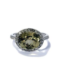 Csarite & Diamond 18k White Gold Ring MTGW 4.74cts