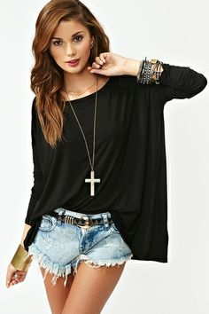 Bamboo Scoop Top in Black