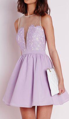 Lavender lace skater dress