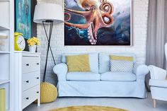 Octopus Large Format Print Original Artwork and Decor #wallart