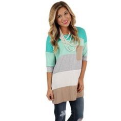 Trendy Striped Tunic from Boutique Model picture showcases fit; actual colors in photos. Teal, mint, grey, white, tan. Goes great with leggings and jeans. Super soft material! Sorry, wrinkled in pictures but is in excellent condition. Only worn 1-2 times. Washed on gentle, air dried, smoke-free home. Tops Tunics