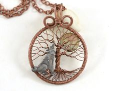 Howling Wolf Tree of Life Pendant Full Moon Tree-Of-Life Pendant Copper Wire…