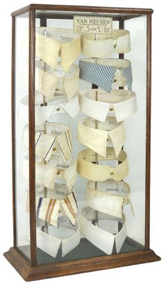 Collar display case, oak w/Van Heusen paper label, holds 14 early collars, a great display i - Rich Penn Auction Company Edwardian Era, Edwardian Fashion, Vintage Fashion, Victorian, Mode Masculine, Retro Vintage, Vintage Items, Old Country Stores, Well Dressed Men