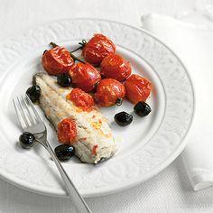Branzino con pomodorini e olive