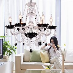 Crystal Chandelier with 6 Lights - Graceful Candle Featured Style – USD $ 259.99