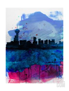 Vancouver Watercolor Skyline Art Print by NaxArt at Art.com
