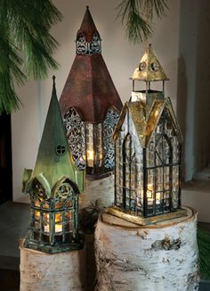 Pretty architectural lanterns. I love the detail in these. Very fun.