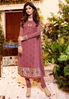 Embroidered Georgette Straight Cut Suit in Dark Old Rose