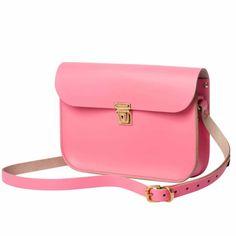Black Independent Designers Leather Saddle Bags, Leather Satchel Handbags, Satchel Purse, Leather Purses, Pink Leather, Cow Leather, Cowhide Leather, Pink Handbags, Totes