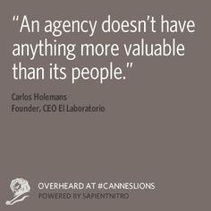 Las agencias que entienden esto forman grandes equipos. #CannesLions #fb #in