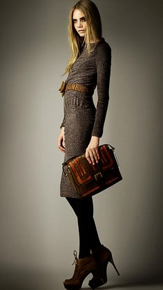 Robe ajustée en jersey de tweed | Burberry