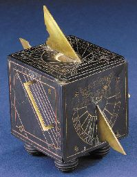 A late German ebony cube dial, Air Brush Painting, Solar, Old Tools, Sundial, Instruments, Medieval Fantasy, Ancient Artifacts, Leather Craft, 18th Century