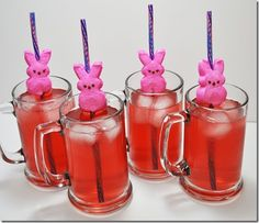 Easter Bunny Peep On A Straw ~This is so stinkin' easy and looks really fabulous!  If you bring this idea to your Easter dinner table- your family will think you are awesome! Find some funky straws and stick it right through the middle of the peep!  Takes about 5 minutes!