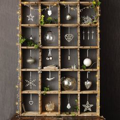 beautiful display of Christmas ornaments