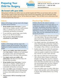 From the BC Children's Child Life Dept: Preparing Your Child for Surgery