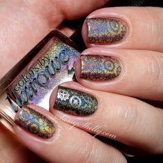 Steampunk nail art by Shelly's Sassy Nails. Colors used: Blonde Ambition and CC Beyond.