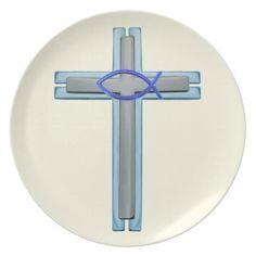 Blue Ichthus Cross Melamine Plate - blue gifts style giftidea diy cyo