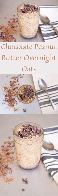 Chocolate Peanut Butter Overnight Oats - These vegan overnight oats are perfect for traveling. They fill you up for hours.