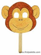 Monkey Mask  Template can be found at:  http://www.firstpalette.com/Craft_themes/Animals/animalmasks/animalmask.html