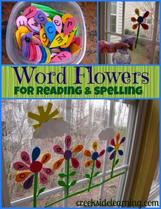 Word Flowers for Reading & Spelling - easy to make foam word flowers! (pinned by Super Simple Songs) Spelling Activities, Kindergarten Literacy, Early Literacy, Activities For Kids, Spelling Practice, Childhood Education, Kids Education, Health Education, Flowers