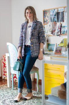 Meu look: blazer de tweed Tweed Blazer, Pink Tweed Jacket, Look Blazer, Tweed Coat, Blazer Jacket, Tweed Chanel, Chanel 5, Chanel Jacket, Fall Fashion Colors