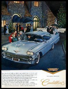 1958 Cadillac Sedan car at Winged Foot Golf Club Xmas photo vintage print ad