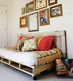 This is an easy and affordable solution for a daybed on a porch or in a sunroom or guest bedroom. By combining two pallets with a twin-size mattress and adding industrial caster wheels available at your local hardware store,