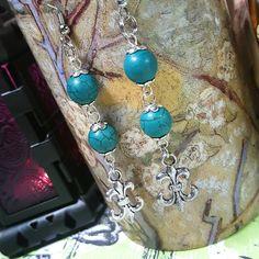Only $5.99! - CLEARANCE French Victorian Blue/Green Crackled Beads, Jade Turquoise Beaded Earrings, Silver Fleur De Lis Charm Earrings, Long Fleur De Lis Earrings, Euro Glam Drop Earrings, 3 Tier Silver Fleur De Lis Charm Earrings - FREE USA SHIPPING https://www.etsy.com/listing/230371600/clearance-french-victorian-bluegreen