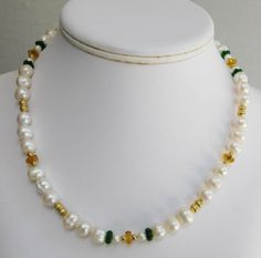 Youre looking at a handcrafted, genuine 18 Freshwater Pearl with Green & Gold Glass Necklace. All metal accent beads and the lobster claw clasp are gold-plated. This is an elegant, classic necklace. All jewelry pieces come in boxes suitable for gift giving.