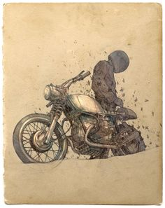 Ideas For Motorcycle Illustration Sketches Cafe Racers Motorcycle Posters, Motorcycle Art, Bike Art, Moto Bike, Art And Illustration, Bike Sketch, Desenho Tattoo, Pinstriping, Vintage Motorcycles