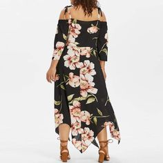9647d27770f NREALY Dress Womens Fashion Off Shoulder Plus Size Lace Up Maxi Flowing  Floral Print Dress Off