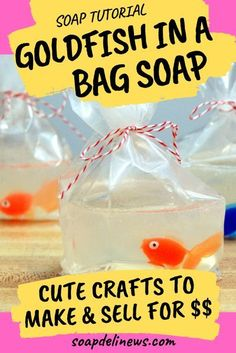 DIY Goldfish in a Bag Soap. How to make DIY Goldfish in a Bag Crafts for Summer Fun. The best summer crafts to make and sell at craft fairs and farmers markets. Learn how to make your own DIY melt and pour goldfish in a bag soaps for unique DIY gifts or just for fun! My melt and pour soap making tutorial offers great tips and advice for creating these fun homemade soaps perfectly the very first try! How to make novelty soaps for sale on Etsy. Fun no lye homemade soap recipe for beginners. Crafts To Make And Sell Unique, How To Make Diy, Sell Diy, Craft Room Storage, Summer Crafts, Summer Fun, Kid Crafts, Easy Crafts, Deli News