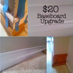 diy 20 baseboard upgrade, wall decor, woodworking projects- for half bath Home Improvement Projects, Home Projects, Baseboard Heater Covers, Distressing Painted Wood, Stenciled Floor, Baseboards, Baseboard Trim, Decoration, Home Remodeling