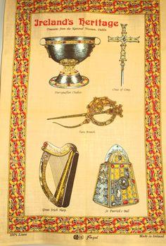 Items similar to Ireland's Heritage Treasures Celtic Tea Towel - Fingal Irish Linen Tara Brooch National Museum Dublin Souvenir - New Old Stock on Etsy
