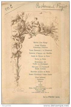 Menus - MENUS menu restaurant FOYOT 1905