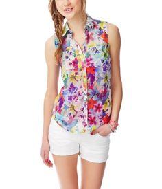 Sheer Floral Garden Chiffon Sleeveless Shirt